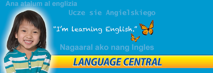 Language Central Banner - Girl smiling, learning English.