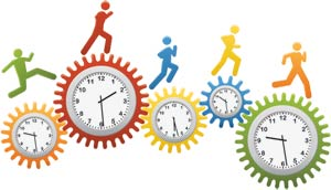 Time running - image of colored clocks
