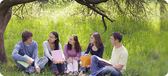 image of Students Sitting Outdoors