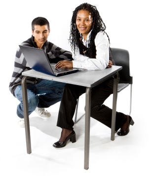 Student and Teacher at computer