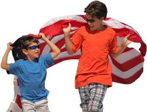 boy students holding an American Flag