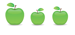 3 green apples