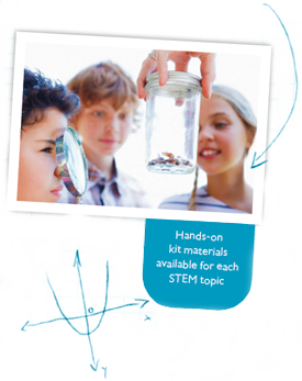 Hands-on kit materials available for each STEM topic