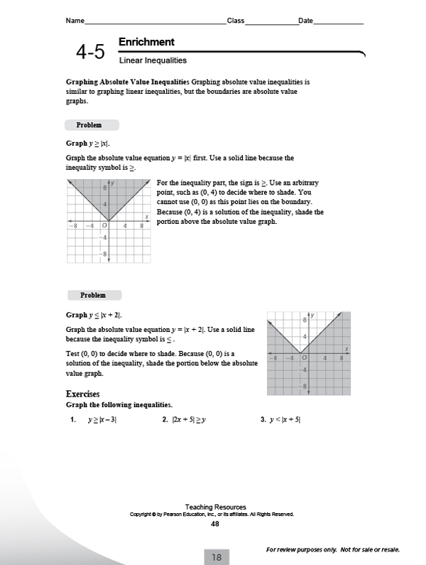 Printables Integrated Math 1 Worksheets pearsonschool com pearson integrated high school mathematics enrichment activities