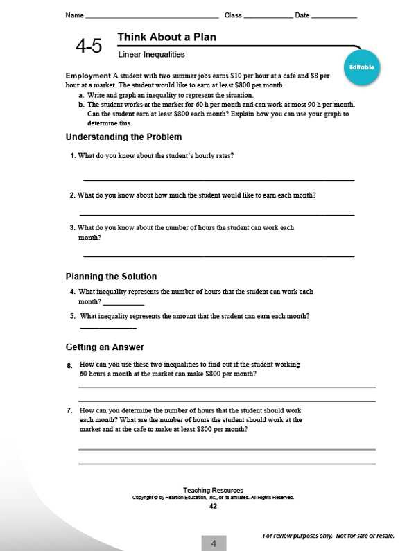 Worksheet Integrated Math 1 Worksheets pearsonschool com pearson integrated high school mathematics think about a plan worksheets