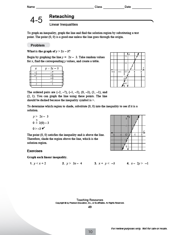 Printables Integrated Math Worksheets pearsonschool com pearson integrated high school mathematics reteaching worksheets