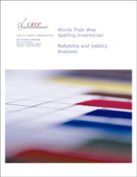 WTW: Study In Action Developmental Model - Cover of Center for REsearch in Educational Policy. WTW Spelling Inventories: Reliability and Validity Analyses