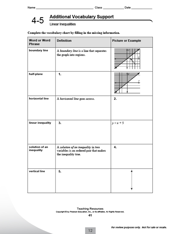 Pearson Integrated High School Math Common Core Program – Vocabulary Worksheets High School