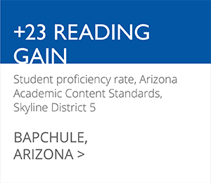 +23 READING GAIN Student proficiency rate, Arizona Academic Content Standards, Skyline District 5 BAPCHULE, ARIZONA