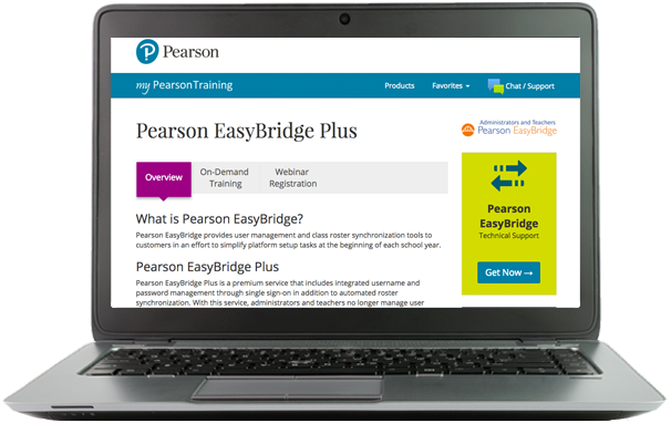 Pearson EasyBridge screen on laptop