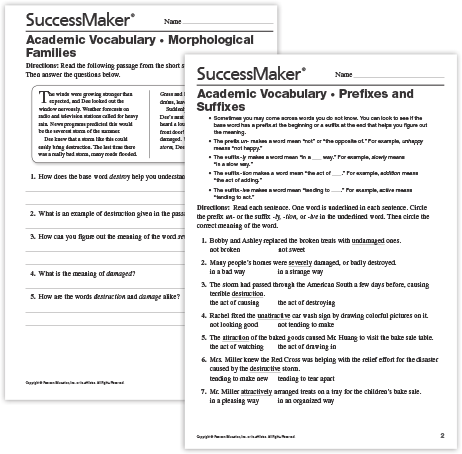 Academic Vocabulary worksheets