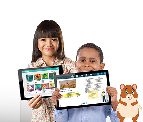 reading mascot, kids, and tablets