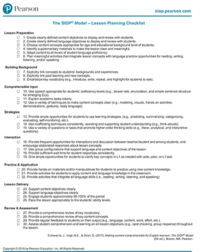 siop lesson examples for high school