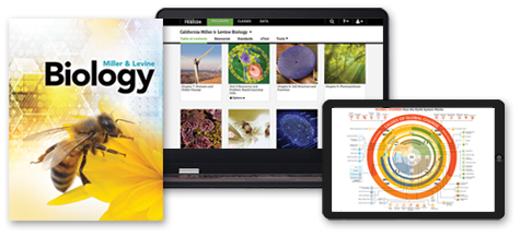 Miller & Levine Biology displayed as a printed book and in its digital form on a tablet