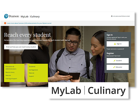 image showing the MyLab Culinary web interface