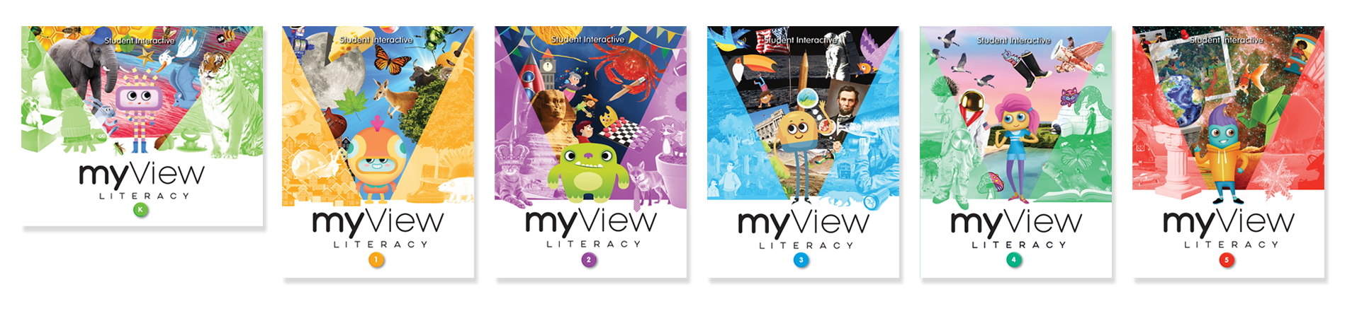 The full array of Pearson myView Literacy: K-5 program covers.