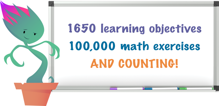 1650 learning objectives; 100,000 math exercises