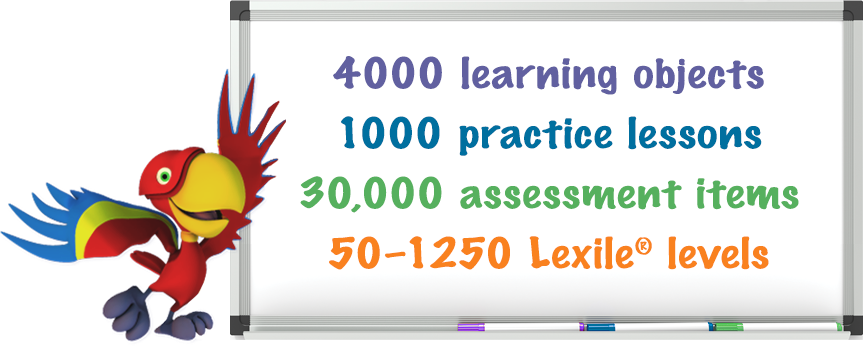 4000 learning objects; 1000 practice lessons; 30,000 assessment items; 50–1250 Lexile® levels